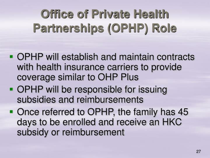 Office of Private Health Partnerships (OPHP) Role