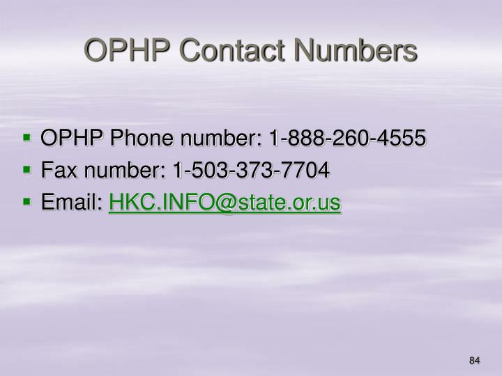 OPHP Contact Numbers
