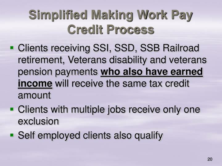 Simplified Making Work Pay Credit Process