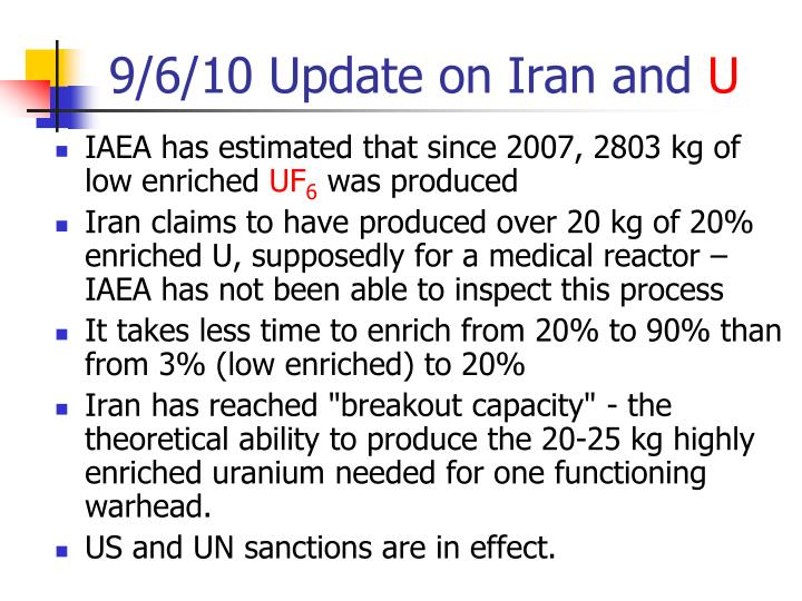 9/6/10 Update on Iran and