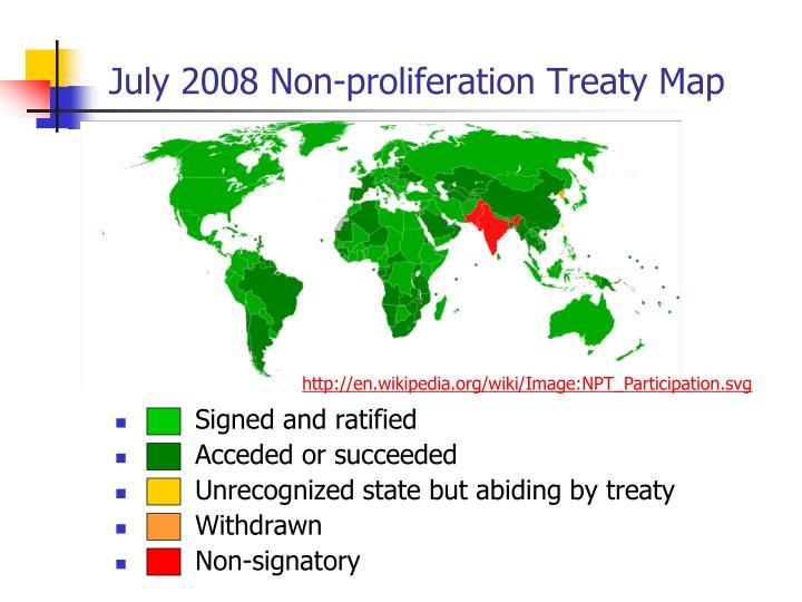 July 2008 Non-proliferation Treaty Map