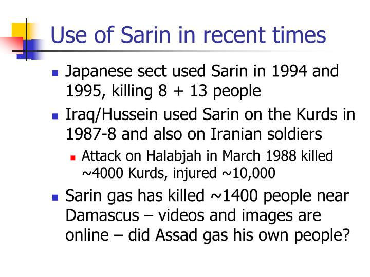 Use of Sarin in recent times