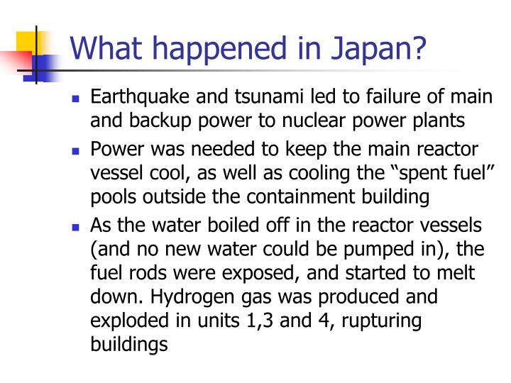 What happened in Japan?