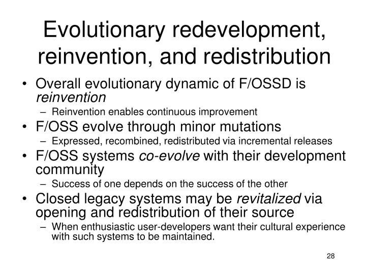 Evolutionary redevelopment, reinvention, and redistribution