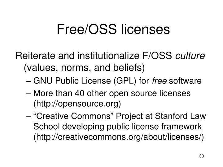 Free/OSS licenses