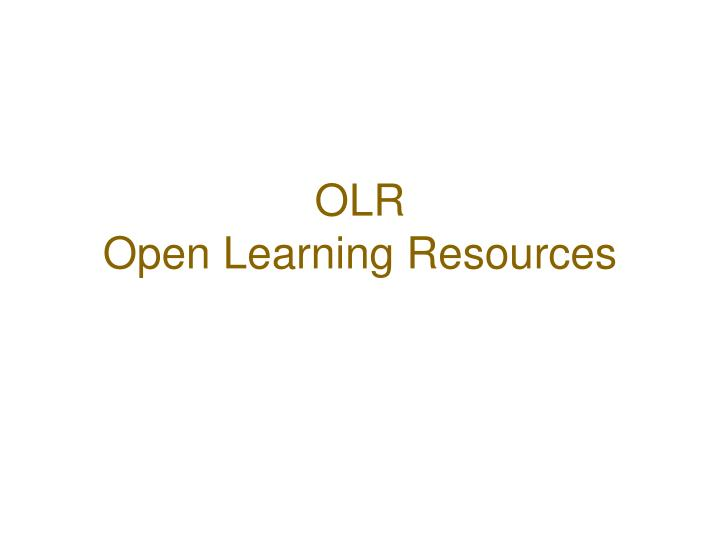 olr open learning resources
