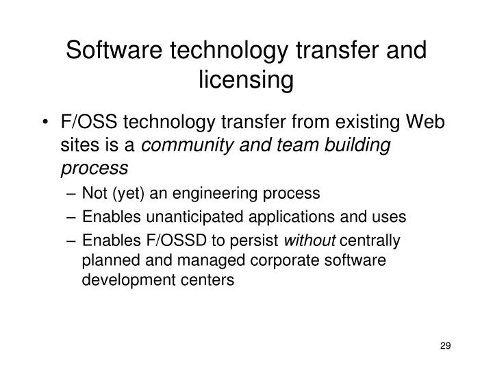 Software technology transfer and licensing
