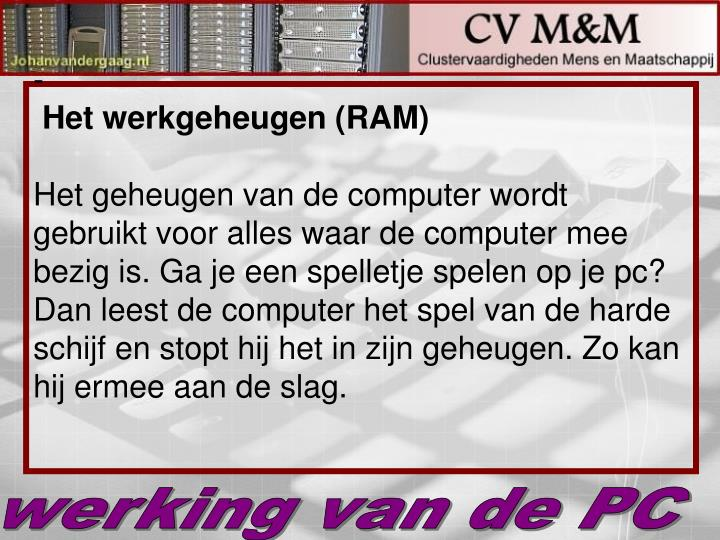 Het werkgeheugen (RAM)