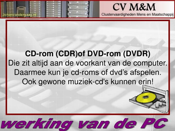 CD-rom (CDR)of DVD-rom (DVDR)