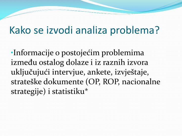 Kako se izvodi analiza problema?