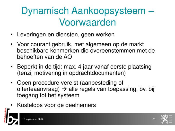 Dynamisch Aankoopsysteem – Voorwaarden