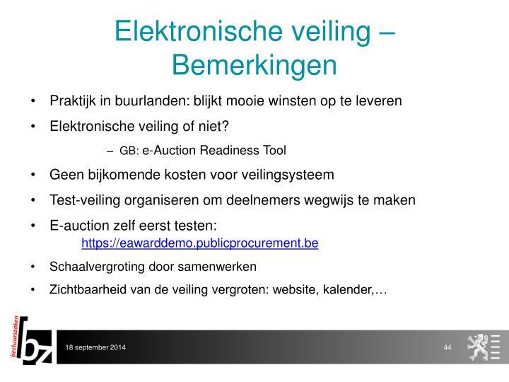 Elektronische veiling – Bemerkingen
