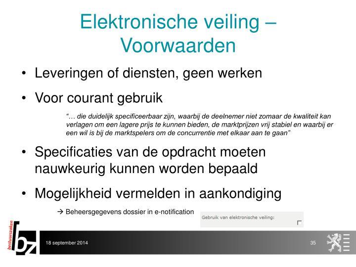Elektronische veiling – Voorwaarden