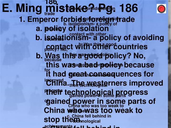 E. Ming mistake? Pg. 186