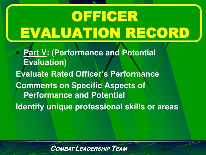 OFFICER EVALUATION RECORD