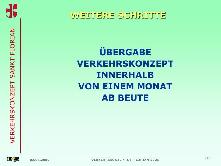 WEITERE SCHRITTE