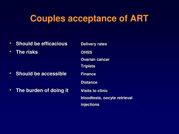 Couples acceptance of ART
