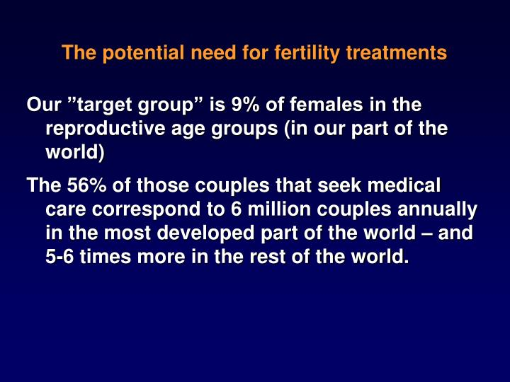 The potential need for fertility treatments