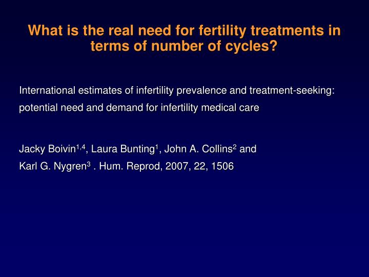 What is the real need for fertility treatments in terms of number of cycles?
