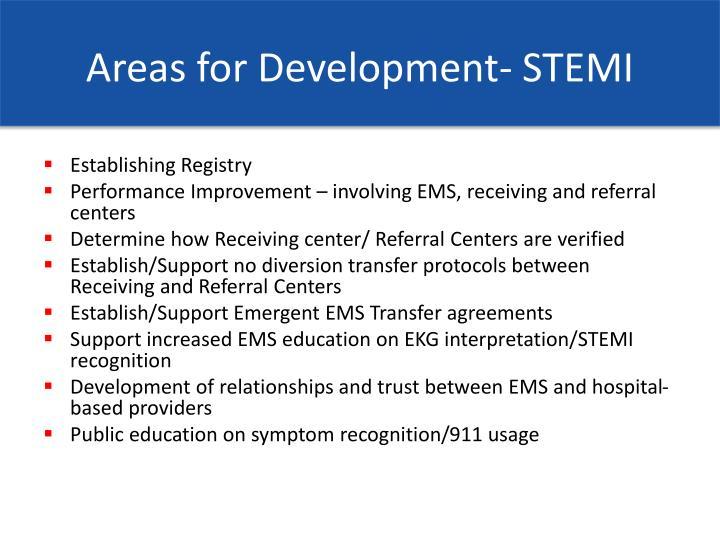 Areas for Development- STEMI