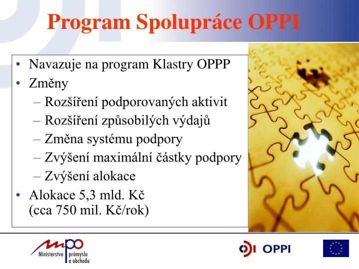 Navazuje na program Klastry OPPP