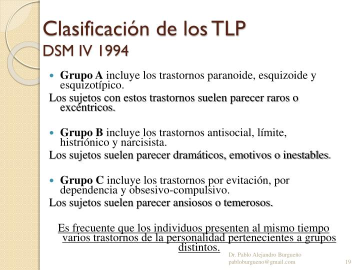 Clasificación de los TLP