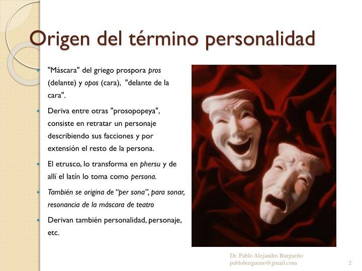 Origen del término personalidad