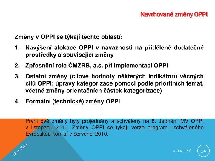Navrhované změny OPPI