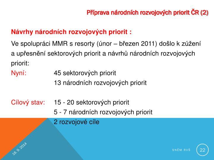 Příprava národních rozvojových priorit ČR (2)