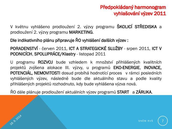 Předpokládaný harmonogram vyhlašování výzev 2011