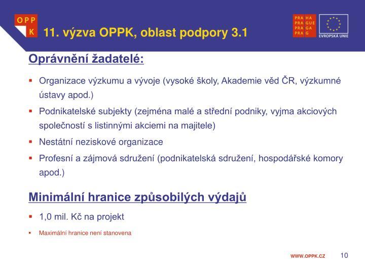 11. výzva OPPK, oblast podpory 3.1