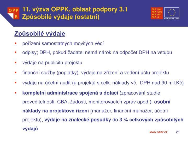 11. výzva OPPK, oblast podpory 3.1 Způsobilé výdaje (ostatní)