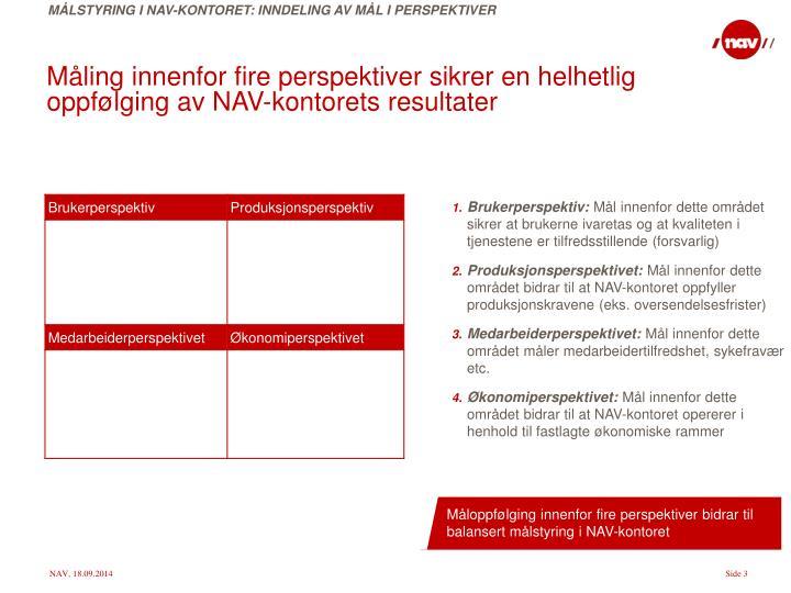 Måloppfølging innenfor fire perspektiver bidrar til balansert målstyring i NAV-kontoret