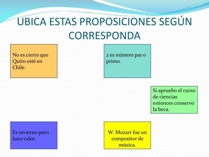 UBICA ESTAS PROPOSICIONES SEGÚN CORRESPONDA