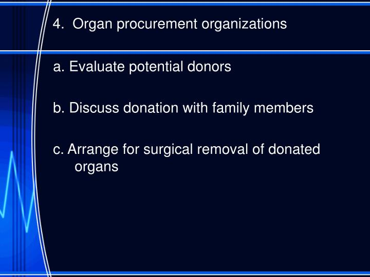 4.  Organ procurement organizations