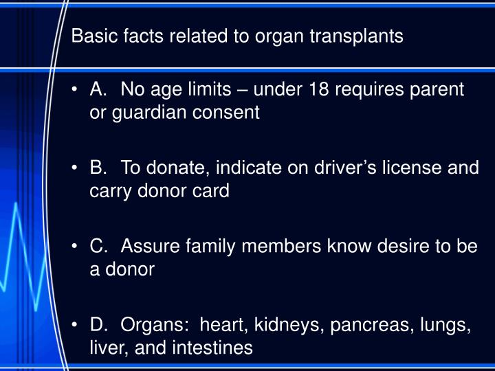 Basic facts related to organ transplants