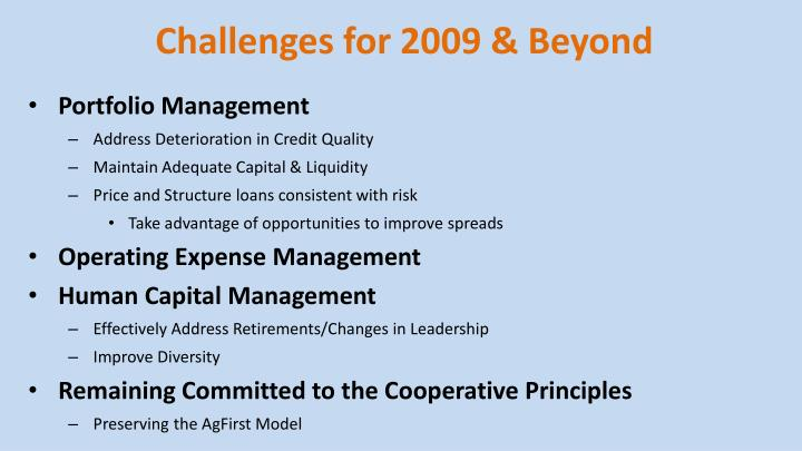 Challenges for 2009 & Beyond