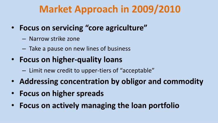 Market Approach in 2009/2010