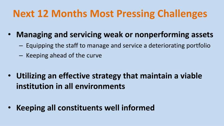 Next 12 Months Most Pressing Challenges