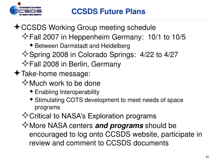 CCSDS Future Plans