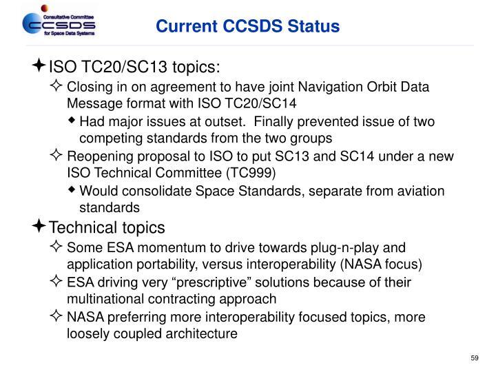 Current CCSDS Status