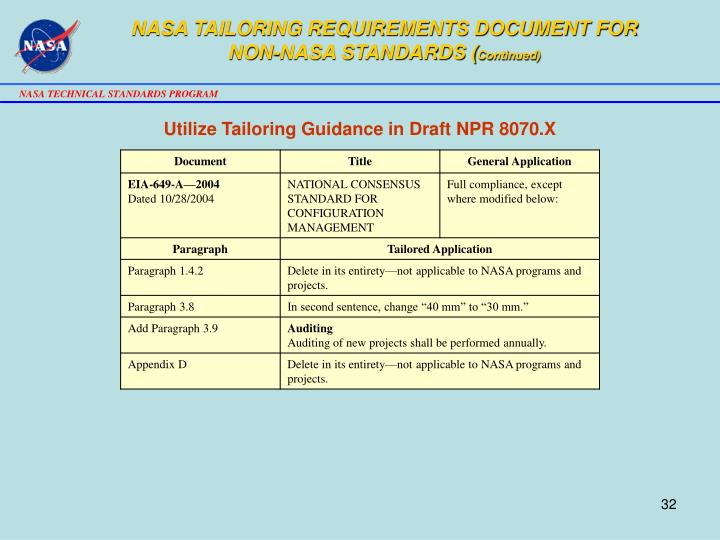 NASA TAILORING REQUIREMENTS DOCUMENT FOR