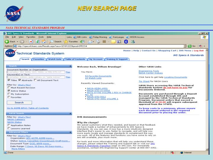NEW SEARCH PAGE
