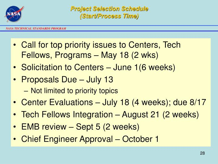 Project Selection Schedule