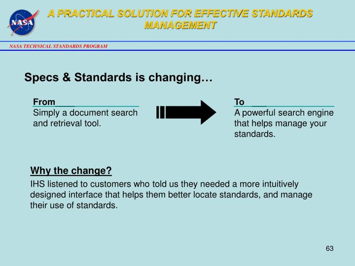 A PRACTICAL SOLUTION FOR EFFECTIVE STANDARDS MANAGEMENT