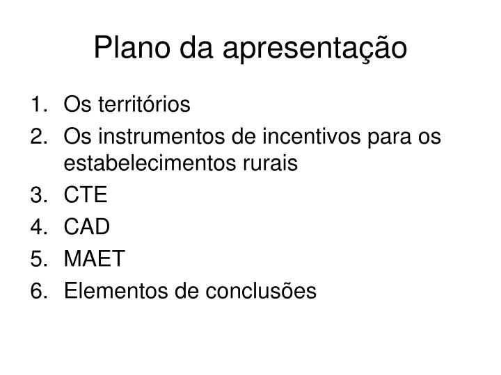 Plano da apresentação