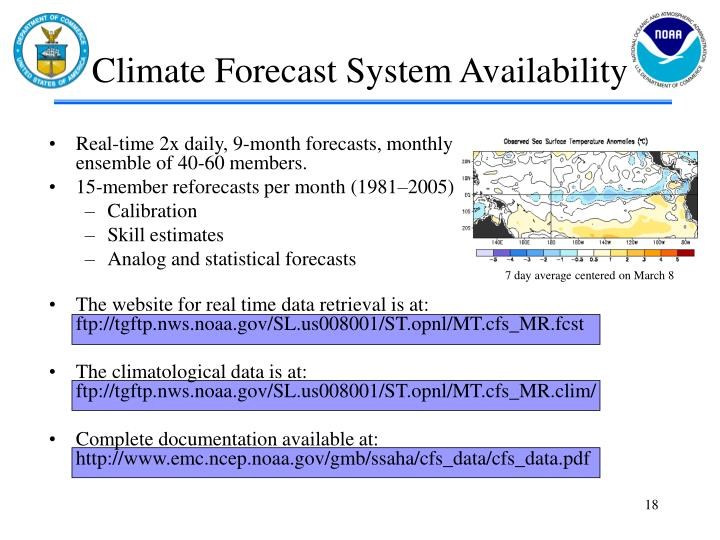 Climate Forecast System Availability