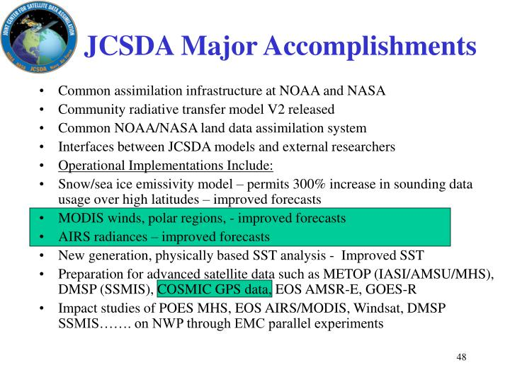 JCSDA Major Accomplishments