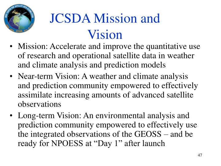 JCSDA Mission and Vision