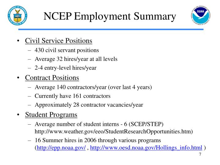 NCEP Employment Summary